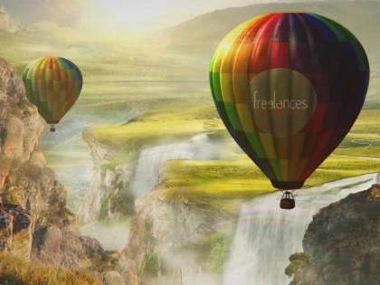 création animation logo vidéo entreprise style montgolfières