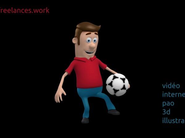 création vidéo entreprise style personnage 3d animation motion design jouer au football
